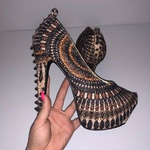 Herstyle Tribal Studded Gold Pointed Toe Snake Sk